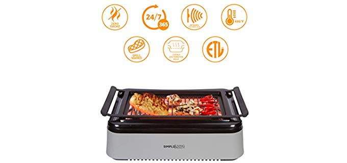 Simple Living Advanced - Smokeless Infrared Grill for Indoor Apartment Use